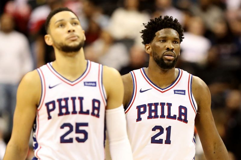 The Philadelphia 76ers resident All-Stars, Ben Simmons and Joel Embiid in an NBA game.