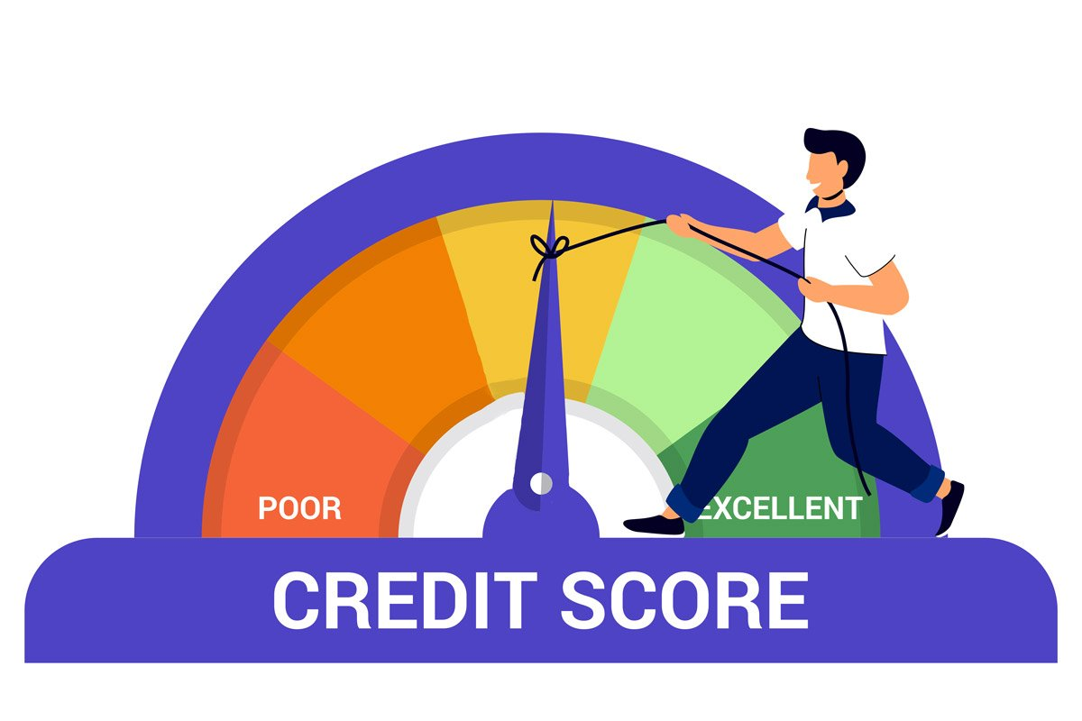 This illustration shows a man moving the needle toward better credit.