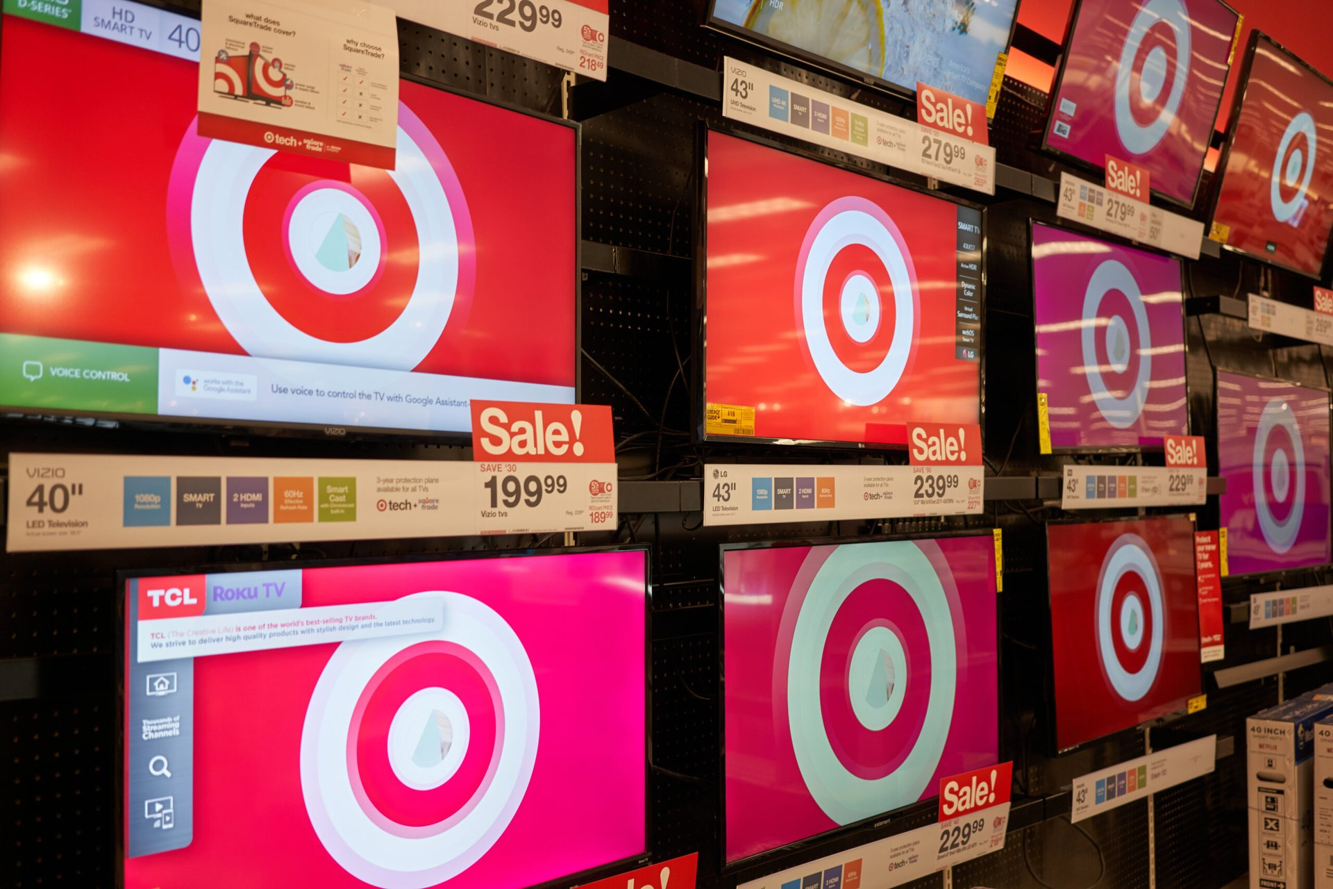 TVs in a Target store