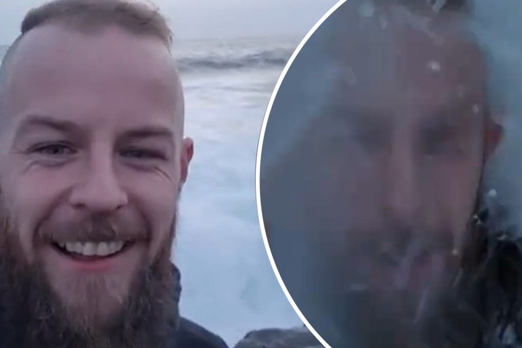 Huge wave crushes idiot taking a selfie (Video)